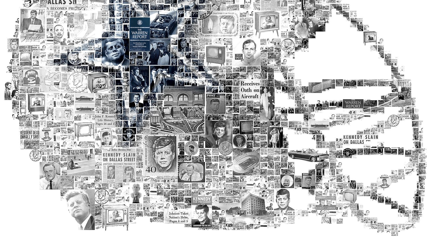 A photo illustration featuring images of the Dallas Cowboys and the assassination of John F. Kennedy in the shape of a Dallas Cowboys helmet.
