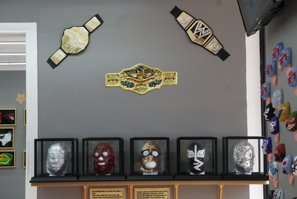 The customers love all the wrestling paraphernalia Maskaras Mexican Grill in Dallas. A series of vintage masks made of leather and sequins sit on one wall.
