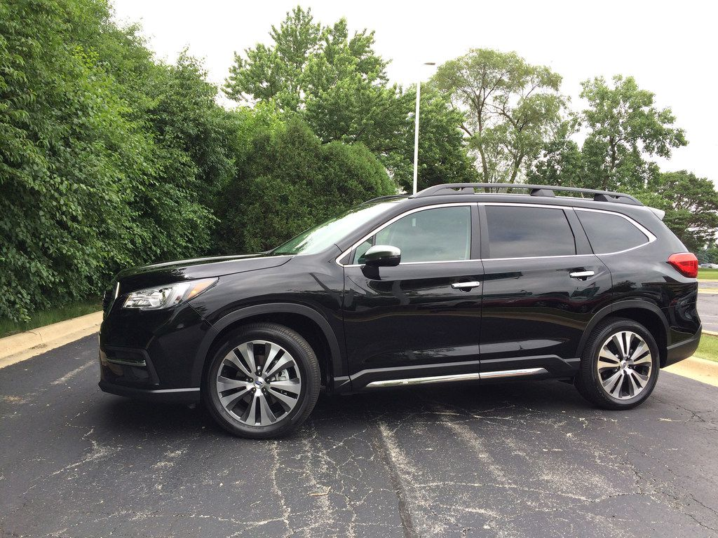The 2019 Subaru Ascent is a three-row crossover powered by a 260-horsepower turbocharged boxer four-cylinder engine with a continuously variable transmission and 19 cupholders.