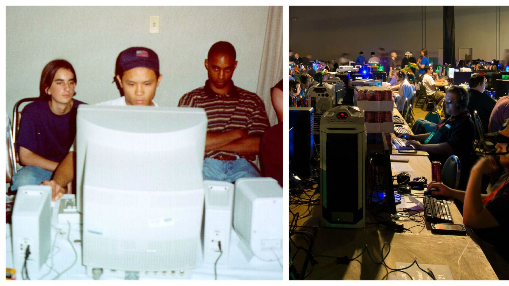 """Left: A photo from the original QuakeCon in 1996 from Brian """"Wendigo"""" Hess.. Right: A photo from QuakeCon 2015 from Larry """"Neocane"""" Gipson"""