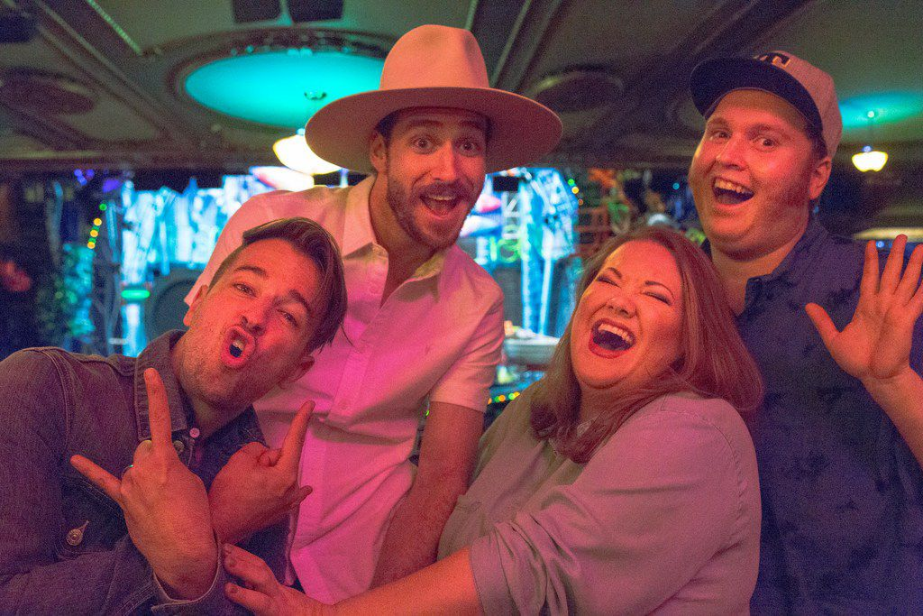 From left: Curtis Holbrook, JC Schuster, Abby C. Smith and Danny Skinner are the four Texans in SpongeBob SquarePants, one of the 2018 Tony Award nominees for Best Musical. Photo taken in the Palace Theatre, where 'SpongeBob SquarePants' is performed on Broadway.