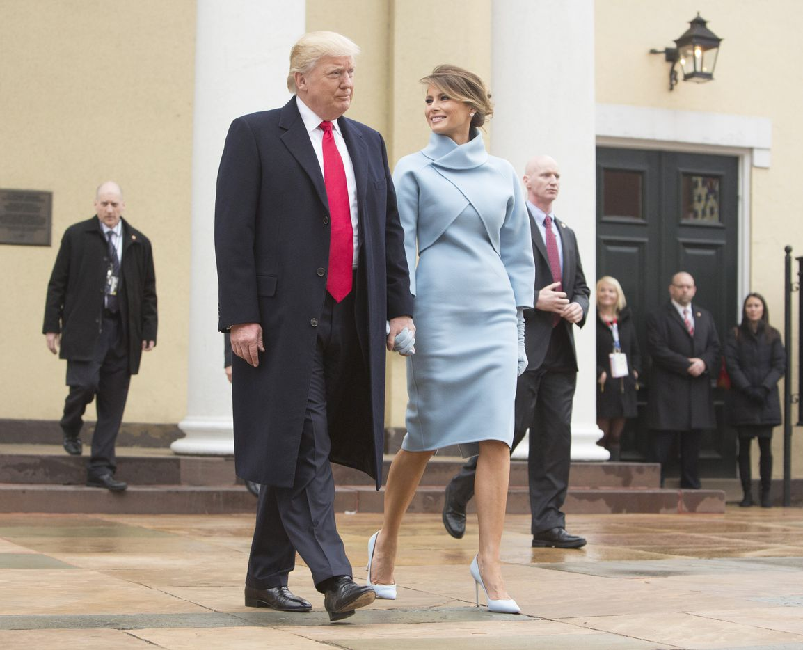 President-elect Donald J. Trump and first lady-elect Melania Trump depart St. John's Church on Inauguration Day on January 20, 2017 in Washington, DC. Donald J. Trump will become the 45th president of the United States today.