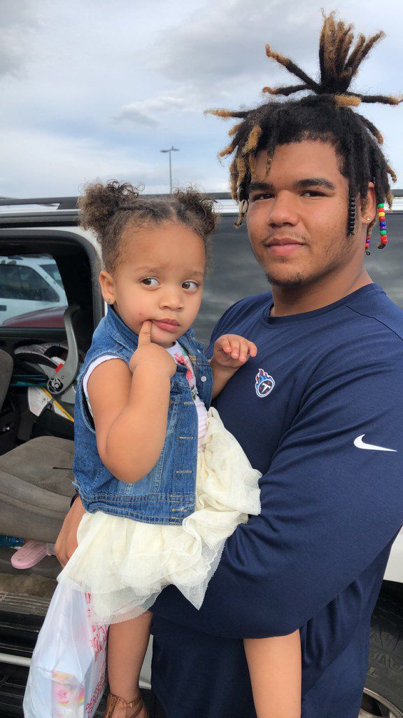 Cowboys rookie defensive tackle Trysten Hill and his little sister, Triniti.