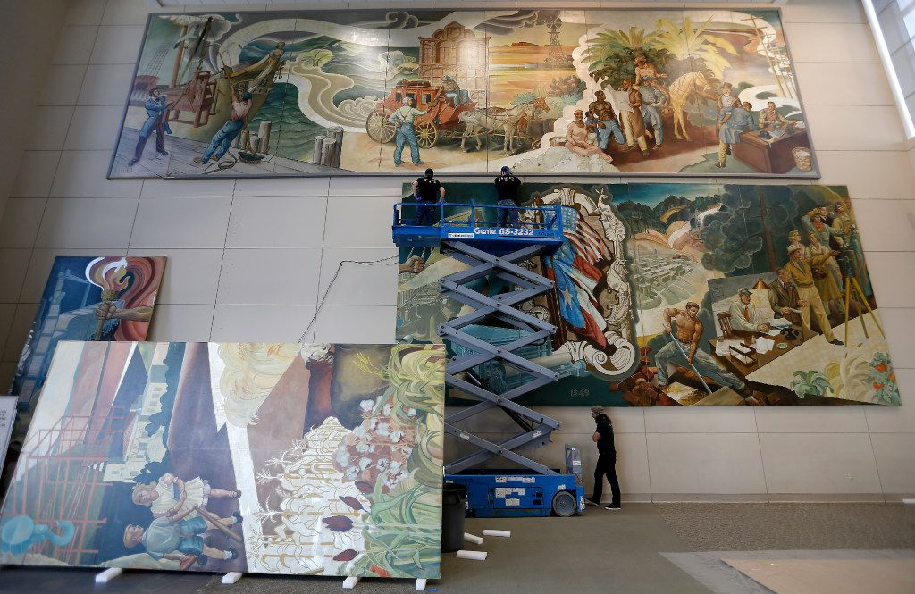 Workers from Unified Fine Arts removed the murals from the walls of the TXCN building in March 2017. The murals by nine artists including Perry Nichols were taken to the Briscoe Center for American History on the University of Texas at Austin campus.