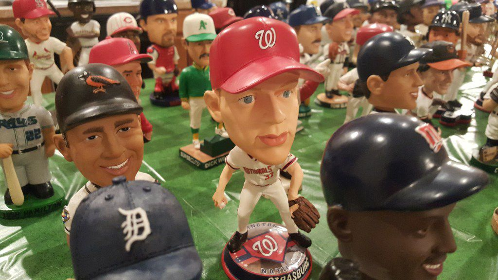 A section of MLB bobbleheads from the collection of Johnnie Lehew. The Fort Worth resident has been collecting the figurines since 2001. (Tommy Noel/Staff Photographer)