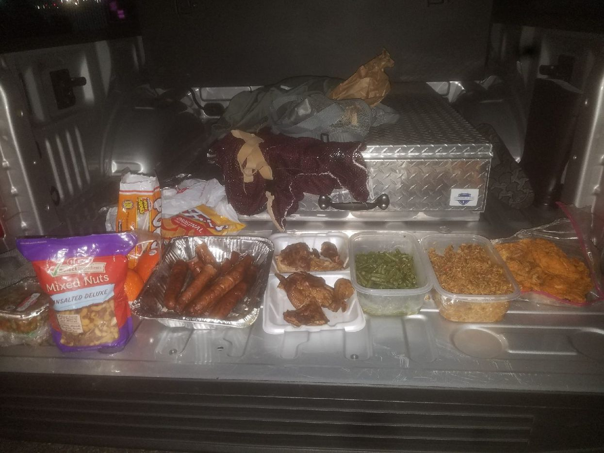 """Deputies reported finding """"a large amount of home cooked food in the duffel bag."""""""