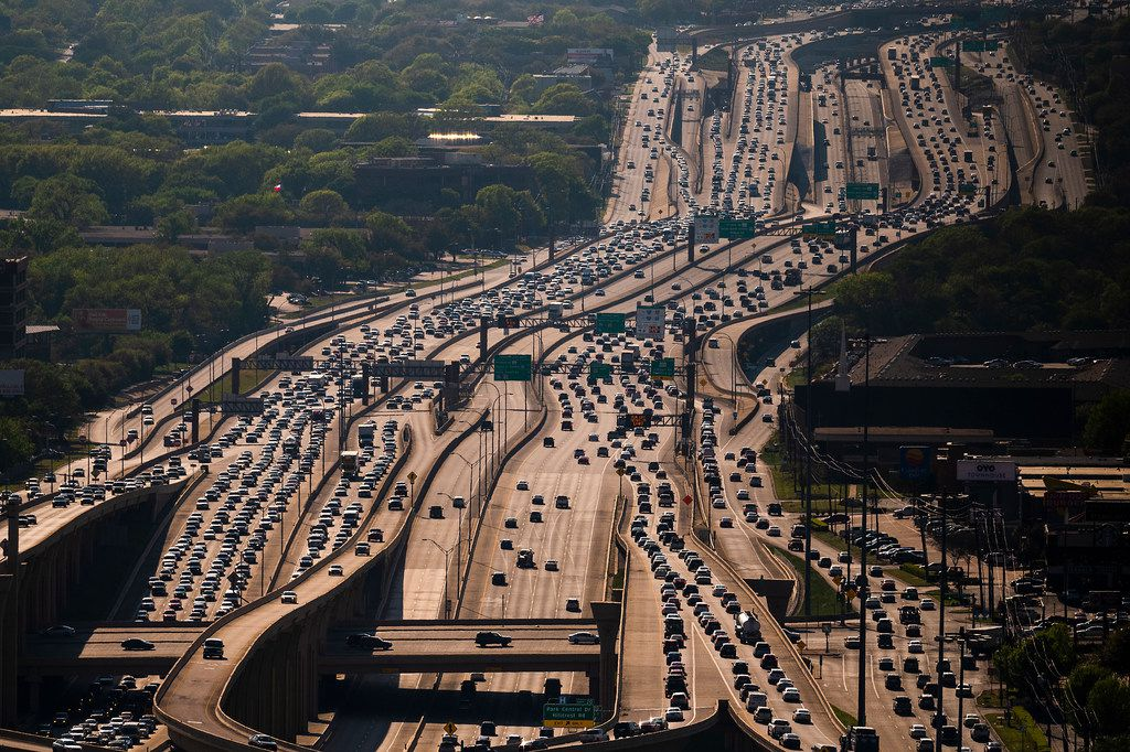 Aerial view of traffic on Interstate 635 seen looking west from the High Five Interchange on Thursday, April 4, 2019, in Dallas.