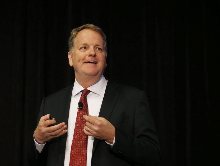 American Airlines CEO Doug Parker speaks during a session at Aviation Week MRO Americas at Kay Bailey Hutchison Convention Center in Dallas on Wednesday, April 6, 2016. (Vernon Bryant/The Dallas Morning News)