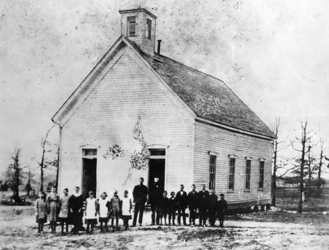 The Oak Lawn Methodist Church-Schoolhouse was built in 1874. This photo is from 1882.