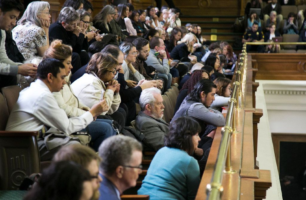 People fill the gallery at the Texas Capitol for a hearing in the Texas Senate on a bill to ban so-called sanctuary cities. (Austin American-Statesman)