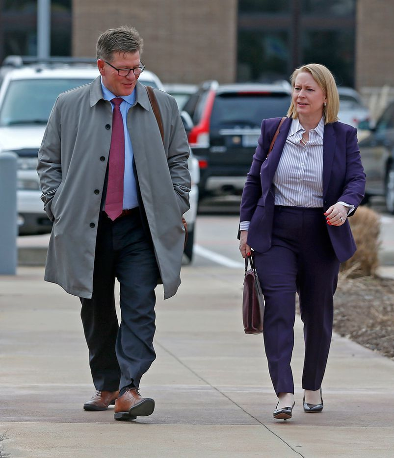 Attorneys Charles Swift and Catherine McDonald, representing Mohommad Hasnain Ali and Sumaiya Ali, arrived at U.S. District Court in Plano on Tuesday for the sentencing hearing.