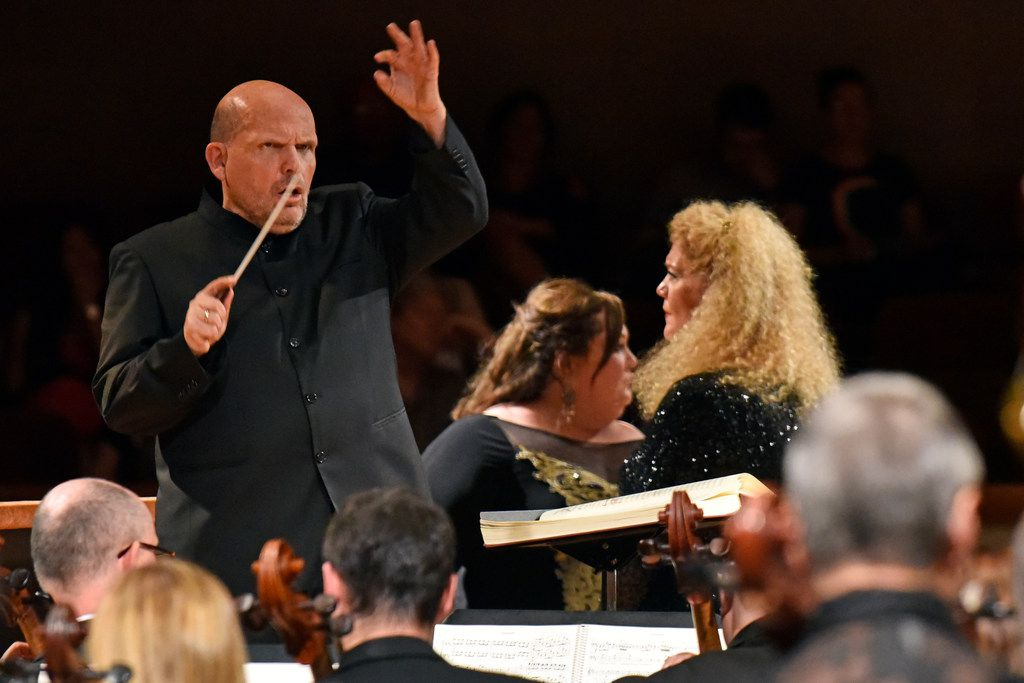Jaap van Zweden conducts the Dallas Symphony Orchestra in Richard Wagner's Die Walküre with Heidi Melton, center, as Brünnhilde and Michelle DeYoung as Sieglinde, in a concert performance May 18, 2018 at the Morton H. Meyerson Symphony Center in Dallas.