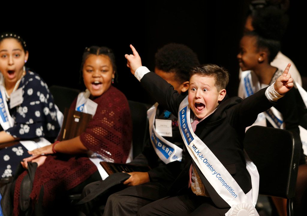 Fourth-grader Wesley Trent Stoker of Harry C. Withers Elementary School exulted Friday after being announced as the winner of the 26th Annual Gardere MLK Jr. Oratory Competition at W.H. Adamson High School in Dallas.
