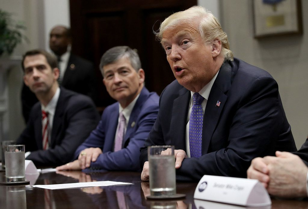 President Donald Trump speaks while meeting with members of Congress and administration officials to discuss the Foreign Investment Risk Review Modernization Act in the Roosevelt Room at the White House on Aug. 23, 2018. Also pictured are Sen. Tom Cotton, R-Ark., and Rep. Jeb Hensarling, R-Dallas, to Trump's right.