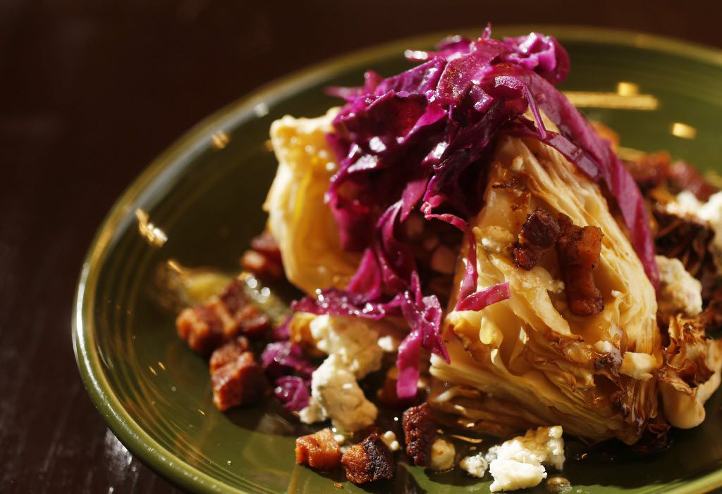 Roasted cabbage wedge with bacon and blue cheese