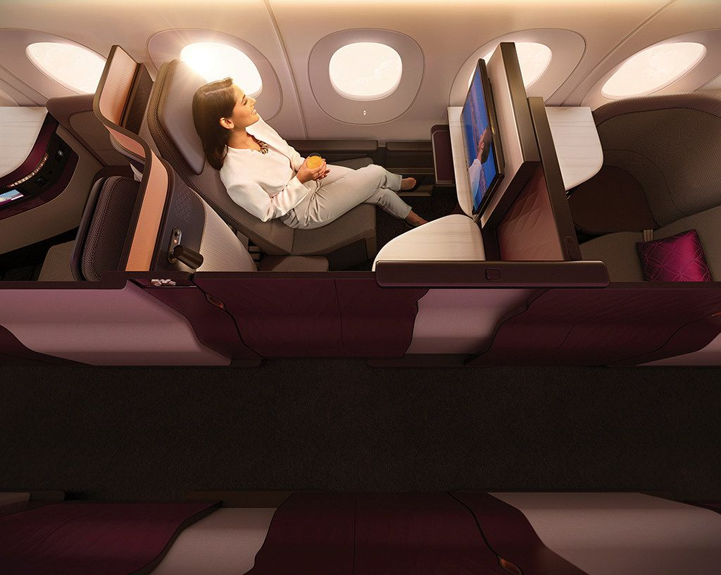 Travelers on Qsuite planes can wall off their individual compartments with paneled doors/