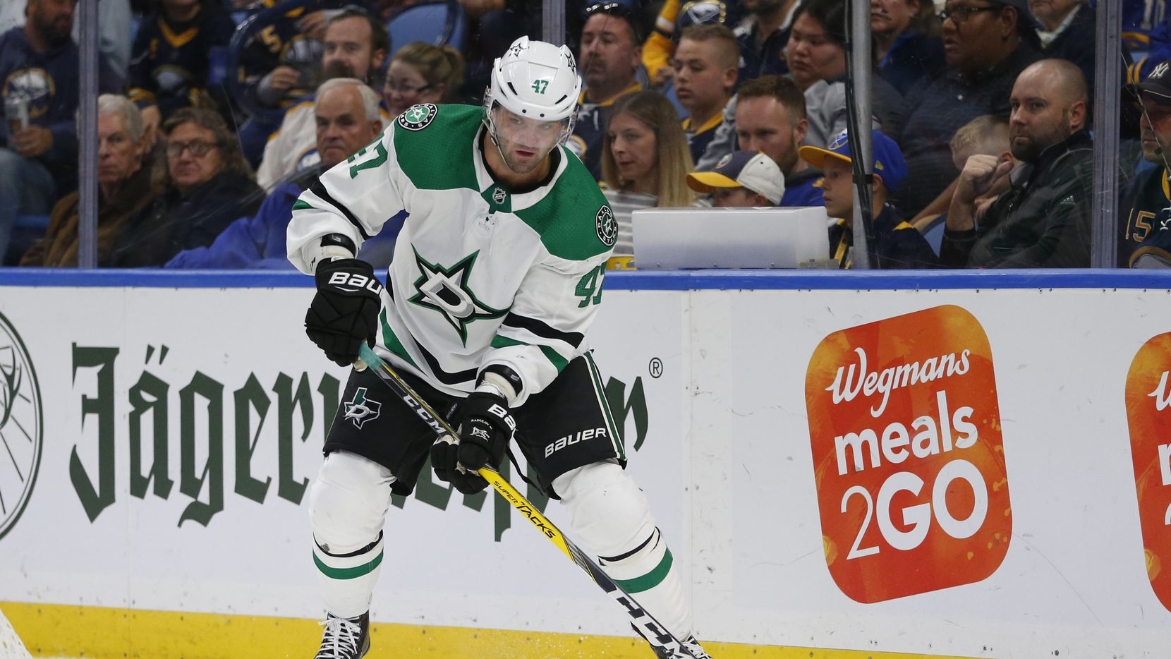 Dallas Stars forward Alexander Radulov (47) controls the puck during the second period of an NHL hockey game against the Buffalo Sabres, Monday, Oct. 14, 2019, in Buffalo N.Y.