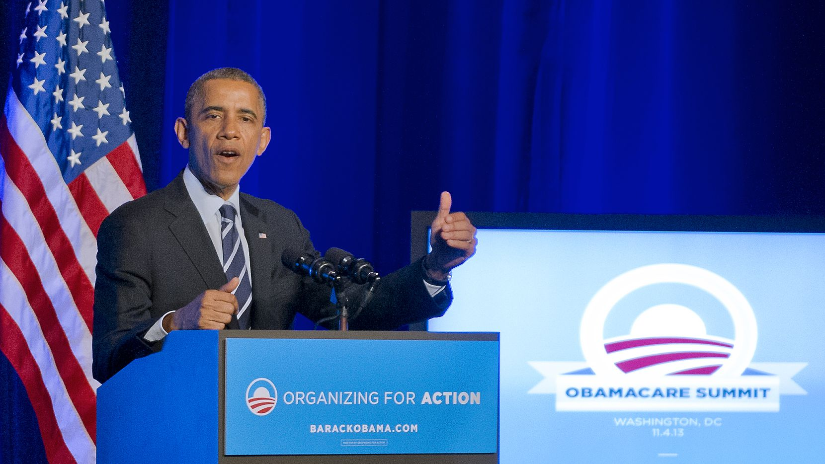 """President Barack Obama speaks at an Organizing for Action """"Obamacare Summit"""" on Nov. 4 at the St. Regis Hotel in Washington. The president is visiting Dallas on Nov. 6 to prod unisured Texans to sign up and attend two fundraisers."""