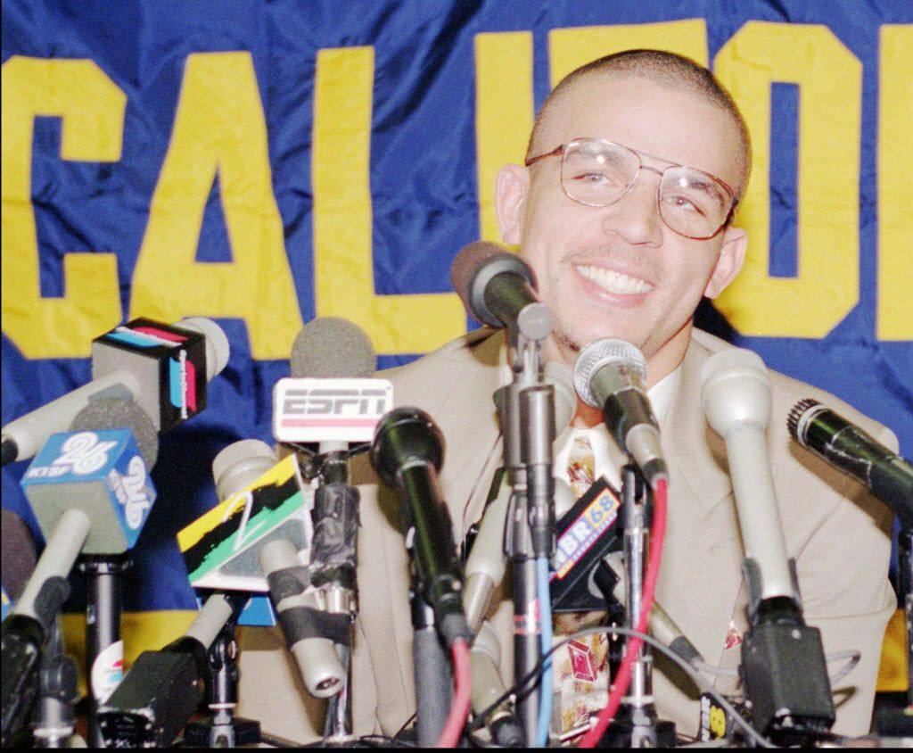 University of California's Jason Kidd smiles at news  conference Wednesday, March 23, 1994 after announcing his  availability for the NBA draft.