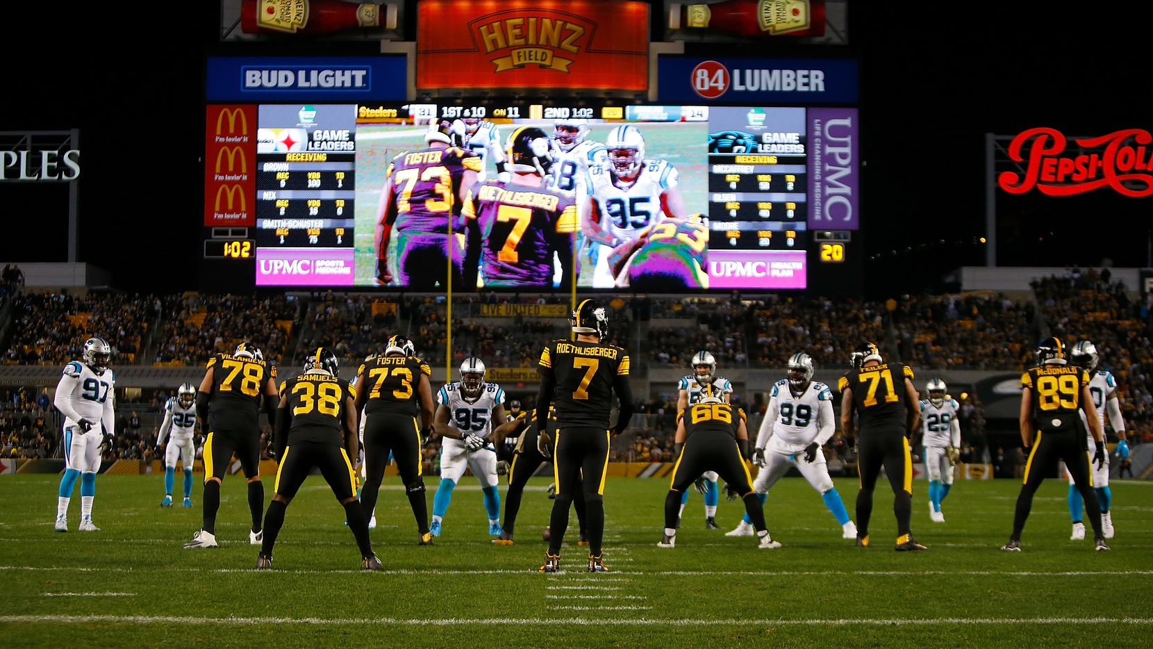 Ben Roethlisberger of the Pittsburgh Steelers lines up under center during the second quarter in the game against the Carolina Panthers at Heinz Field on Nov. 8.