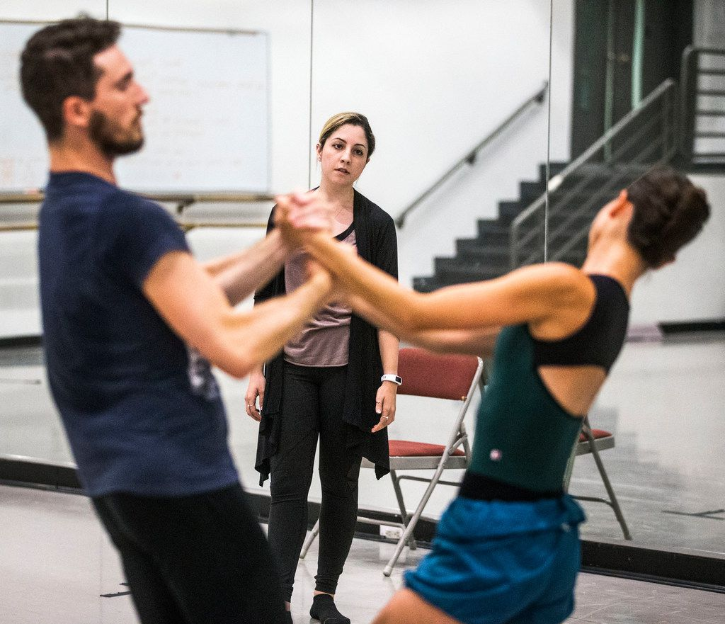 Hailey Von Schlehenried (center) watches dancers Riley Moyano and Amanda Fairweather of Texas Ballet Theater rehearse one of her pieces for the upcoming debut of AKA:ballet. The project was conceived after choreographer Carter Alexander saw the pair perform a Von Schlehenried work at last year's Dallas DanceFest.