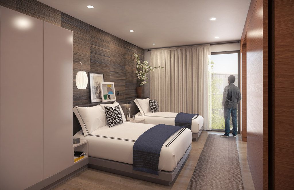 Artist rendering of the guest suite's bedroom at the Gene and Jerry Jones Family Hope Lodge being built adjacent to the Baylor University Medical Center campus.