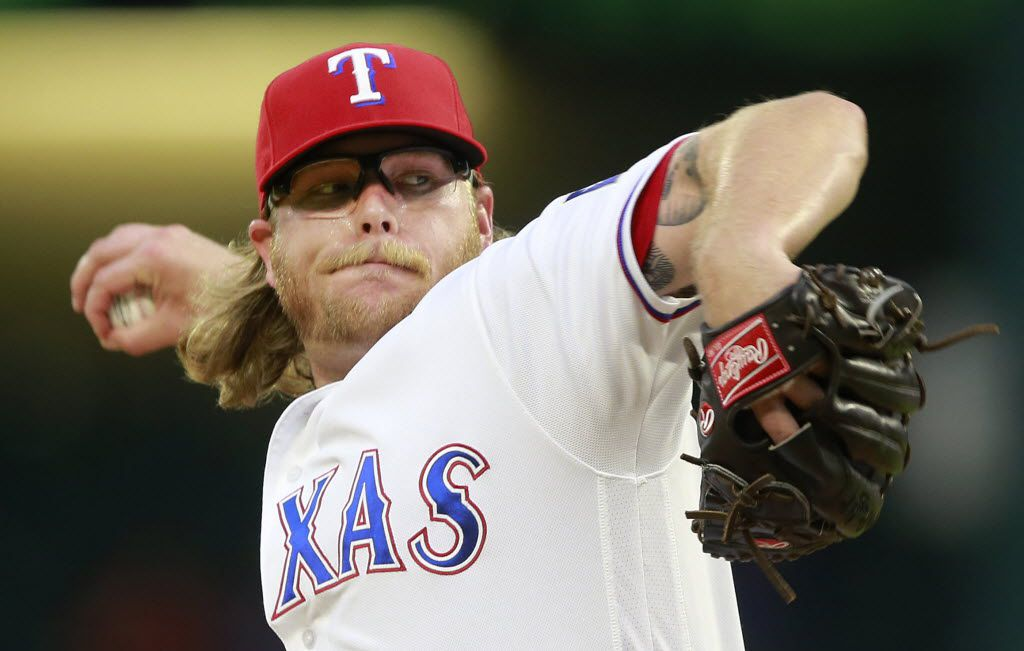 Texas Rangers starting pitcher A.J. Griffin throws in the first inning against the New York Yankees at Globe Life Park in Arlington, Tuesday, April 26, 2016. Griffin got his third win of the season.  (Tom Fox/The Dallas Morning News)