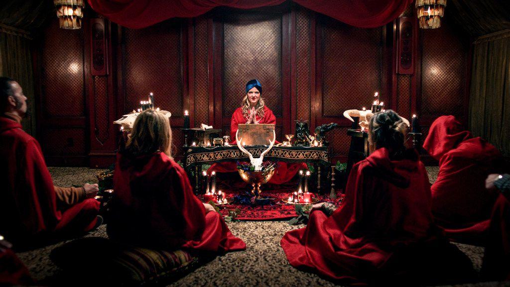 "Arden Myrin stars in Chelsea Stardust's new horror film ""Satanic Panic."""