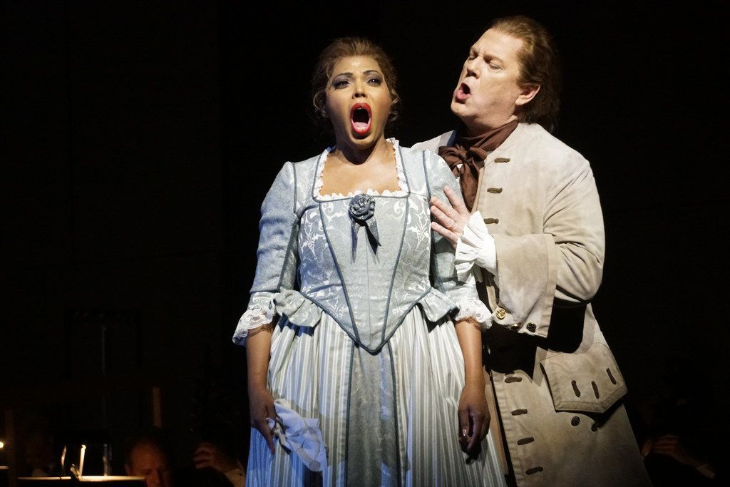 Dallas Opera's Gregory Kunde and Kristin Lewis perform in a dress rehearsal of Puccini's Manon Lescaut at the Winspear Opera House in Dallas on Feb. 27.