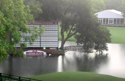 Tweeted photo of high water on the 18th hole at Colonial Country Club in Fort Worth Sunday, May 10, 2015. This is a rare occurrence at Colonial and the water has since been drained, and club officials have secured a larger water pump to have on standby if necessary during tournament week.