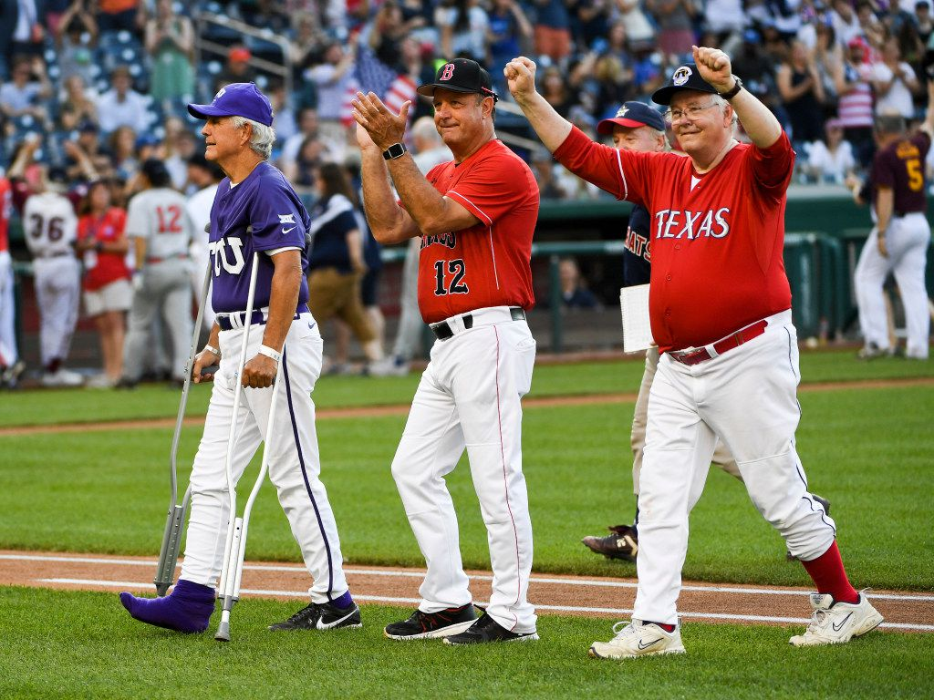 Using crutches, Rep. Roger Williams of Texas was introduced before the Congressional Baseball Game on Thursday.