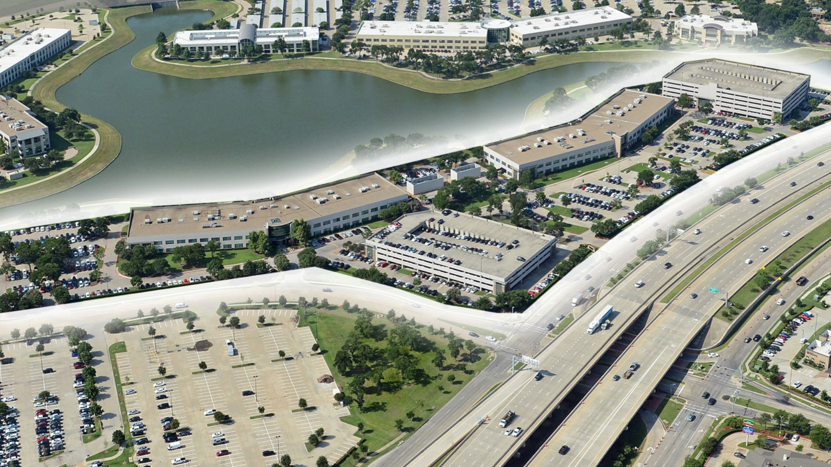The Lake Vista 3 & 4 buildings are fully leased.
