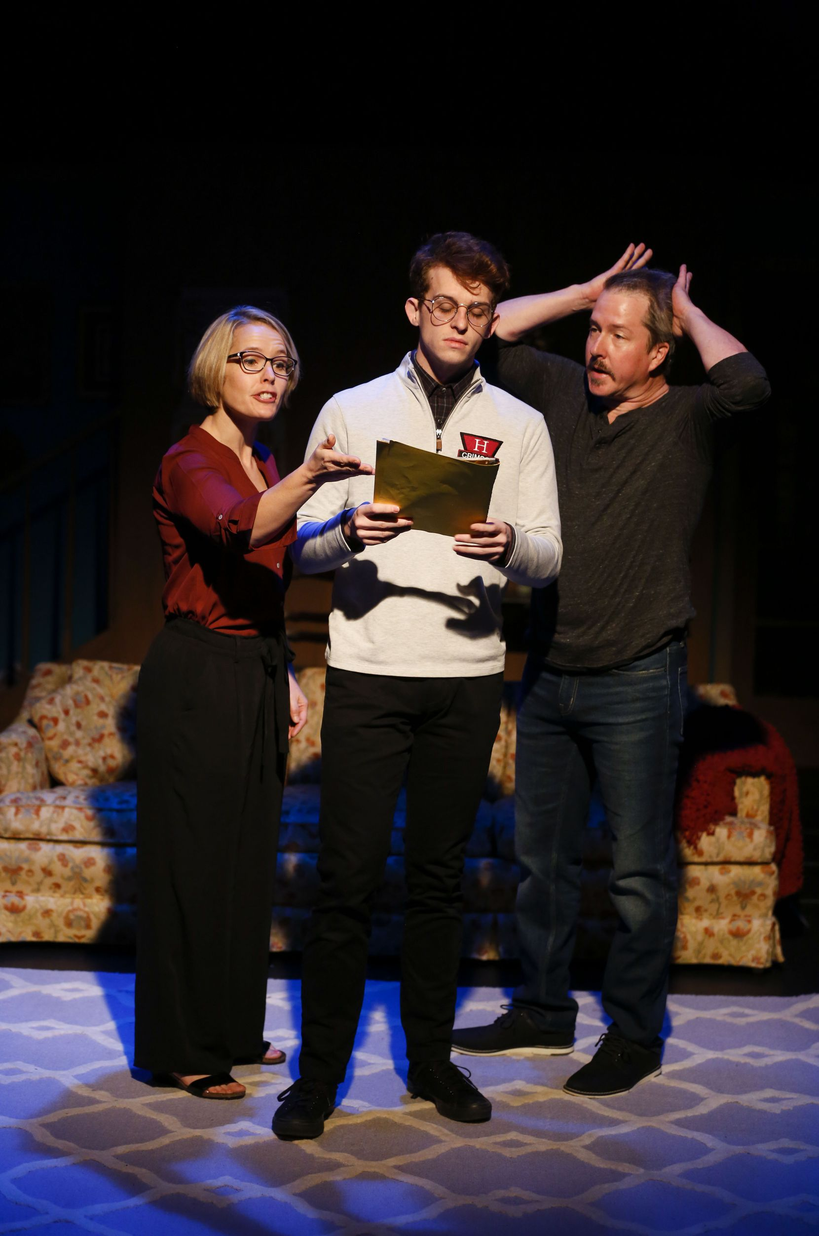 "Dana Schultes, left, Evan Michael Woods and Chris Hury star in ""The Lifespan of a Fact"" at Stage West in Fort Worth."