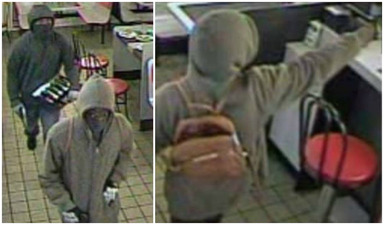 The robbers were described as black men in the early 20s. Both wore gloves and black cloths over their faces. One wore a gray hoodie, and the other wore a green hooded jacket and carried a tan backpack.