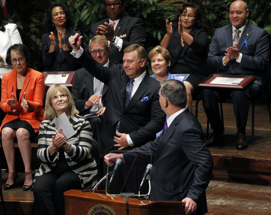 Newly-elected Dallas City Council Member Rick Callahan, District 5, waves to the audience during the Inaugural Ceremony of the Dallas City Council at the Morton H. Meyerson Symphony Center in Dallas on June 24, 2013. (Sonya Hebert-Schwartz/The Dallas Morning News)
