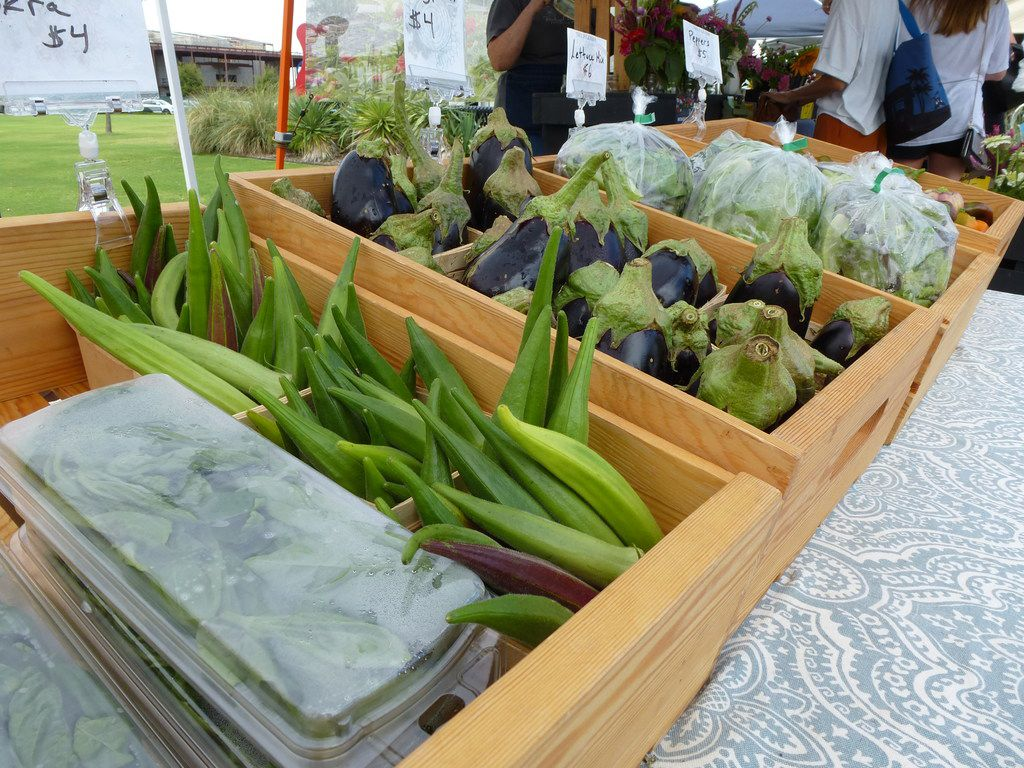 Tree Folk Farm in Denton supplied right green, smooth-skinned okra, eggplant and a lettuce blend to the Coppell Farmers Market last week.