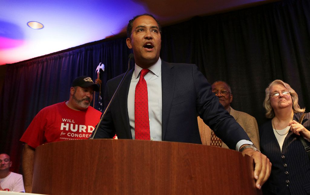U.S. Rep. Will Hurd, R- Helotes, seeking reelection in District 23, talks with supporters as election results come in at the Eilan Hotel and Spa on Nov. 8, 2016, in San Antonio. (Bob Owen/The San Antonio Express-News via AP)