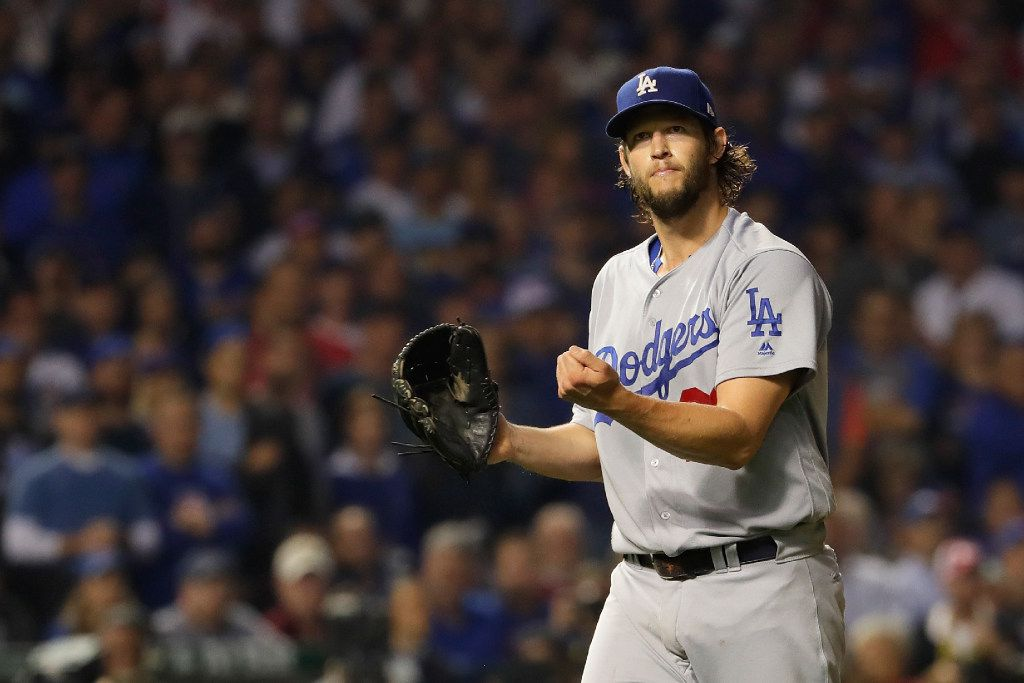 CHICAGO, IL - OCTOBER 16:  Clayton Kershaw #22 of the Los Angeles Dodgers reacts after pitching the sixth inning against the Chicago Cubs during game two of the National League Championship Series at Wrigley Field on October 16, 2016 in Chicago, Illinois.  (Photo by Jamie Squire/Getty Images)