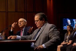 Supreme Court Justices Antonin Scalia, right, and Stephen Breyer testify before the Senate Judiciary Committee, on Capitol Hill in Washington, Oct. 5, 2011. (Stephen Crowley/The New York Times)