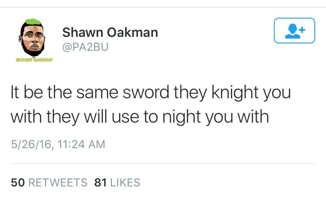 Deleted Shawn Oakman tweet