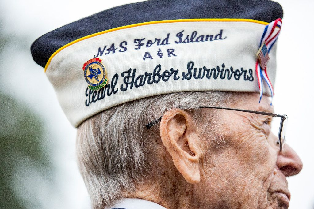 Pearl Harbor veteran Aaron Cook, 94, of Houston, who was at Ford Island during the attack, attends a 75th Anniversary of Pearl Harbor commemoration at the George Bush Presidential Library on Wednesday, Dec. 7, 2016, in College Station, Texas. (Smiley N. Pool/The Dallas Morning News)