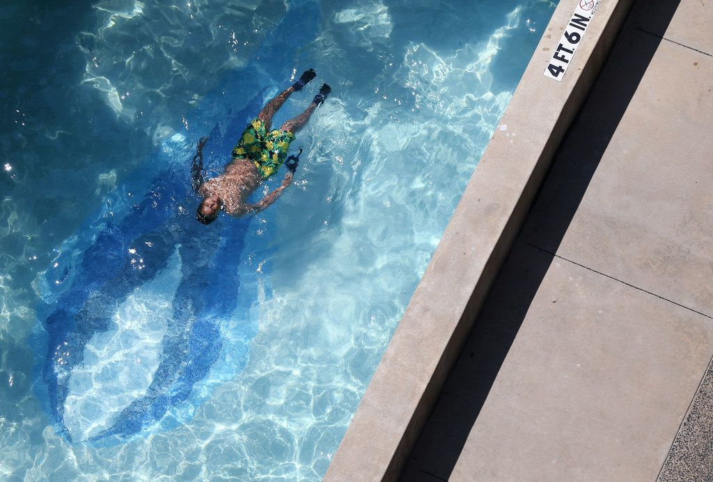 The old Lone Star Gas logo can be seen at the bottom of the pool at the Lone Star Gas Lofts in downtown Dallas,