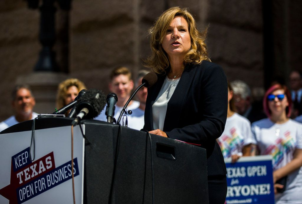 Jennifer Staubach Gates, a member of the Dallas City Council and a VisitDallas Board Member, and other Texas business leaders hold a press conference opposing the bathroom bill on Monday at the Texas state capitol in Austin.