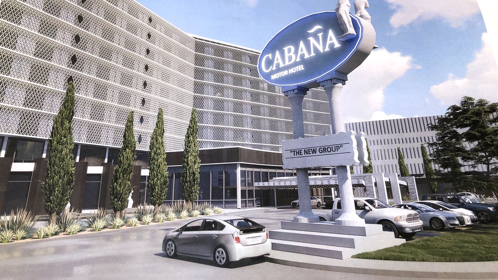 The Cabana Hotel on Stemmons Freeway is set for a redevelopment, as shown in this artist's rendering.