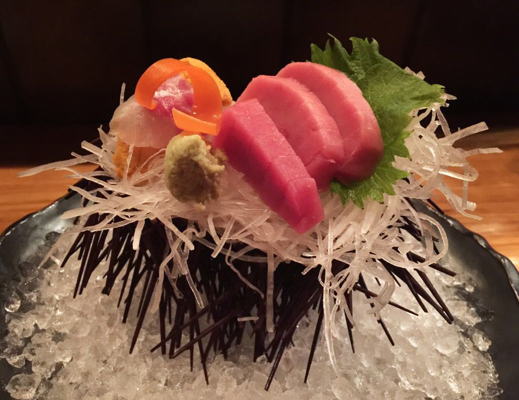 Sashimi served as part of an omakase menu at Yutaka Sushi Bistro.
