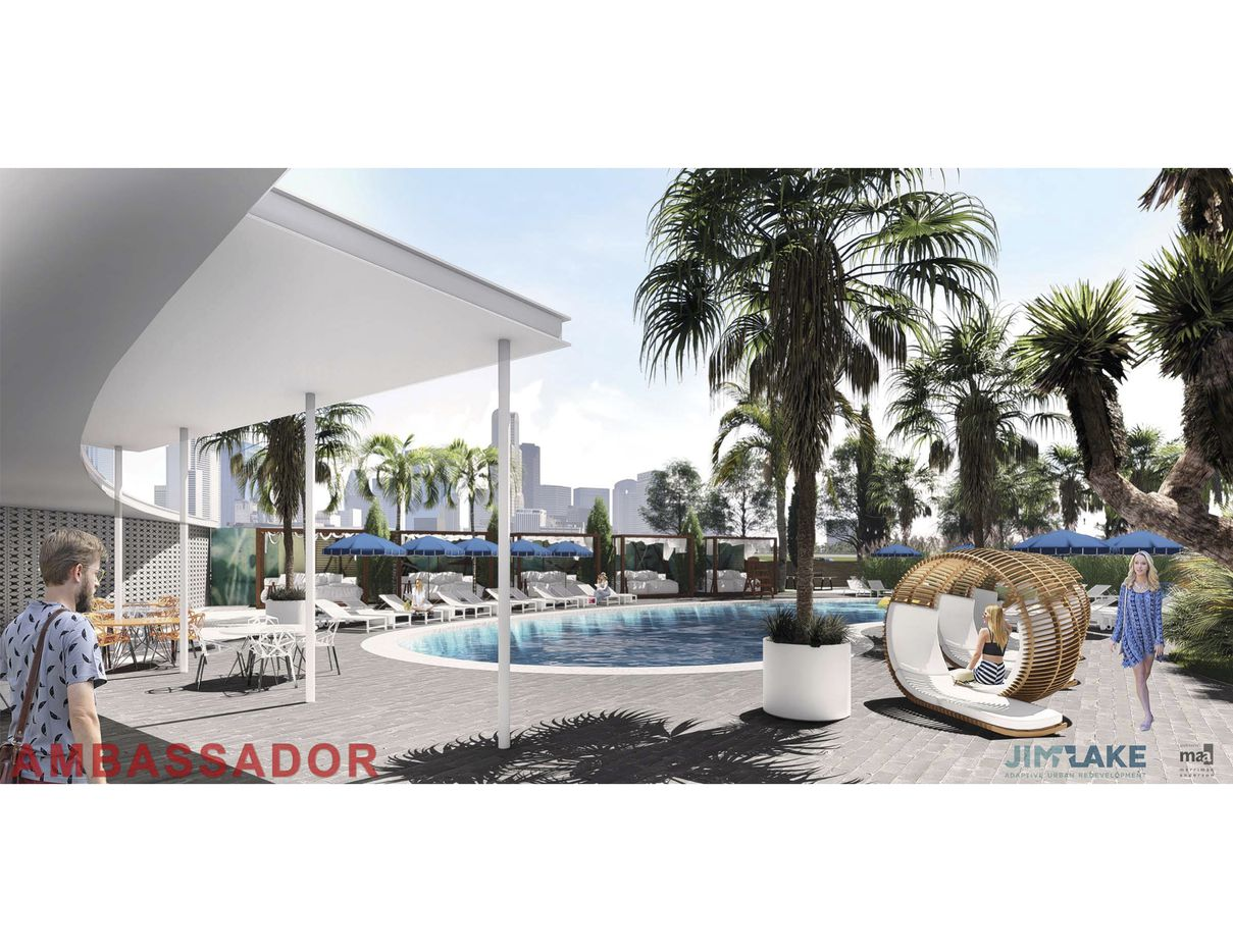 The planned pool area at the restored Ambassador Hotel.