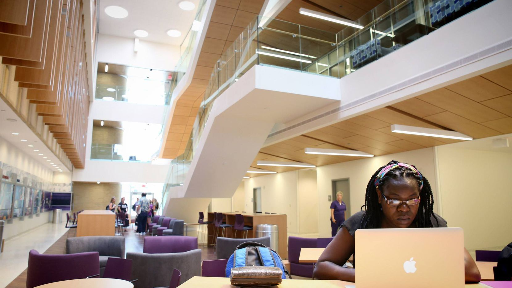 Inside the Annie Richardson Bass Building, which houses Nursing within Harris College of Nursing & Health Sciences at Texas Christian University. TCU received more than $660,000 from the Department of Health and Human Services to expand access to clinical staff in rural areas of Texas.