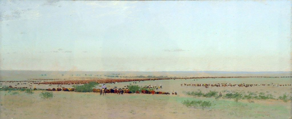 The O Roundup, Texas, 1888, an 1894 work by Frank Reaugh  (Panhandle-Plains Historical Museum, Canyon, Texas)