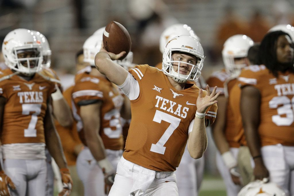 AUSTIN, TX - NOVEMBER 24:  Shane Buechele #7 of the Texas Longhorns warms up before the game against the Texas Tech Red Raiders at Darrell K Royal-Texas Memorial Stadium on November 24, 2017 in Austin, Texas.  (Photo by Tim Warner/Getty Images)