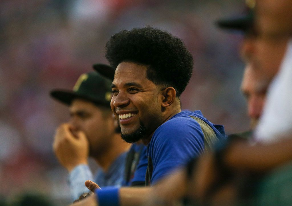 Elvis Andrus reacts from the dugout during a matchup between the Texas Rangers and the St. Louis Cardinals at Globe Life Park on Friday, May 27, 2019 in Arlington, Texas. (Ryan Michalesko/The Dallas Morning News)